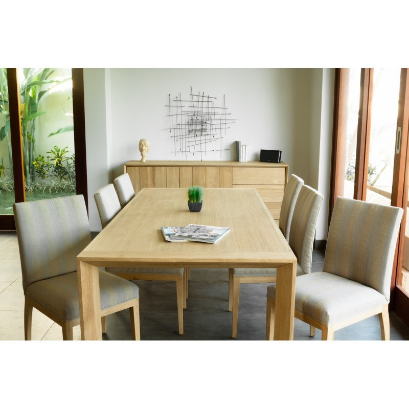 Table à manger rectangulaire (200x95cmx76cm) JASON en chêne massif (chêne naturel) - image 30434