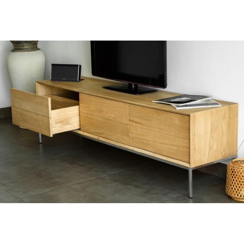 Meuble TV bas design 2 tiroirs 1 porte JASON en chêne massif (chêne naturel) - image 30439