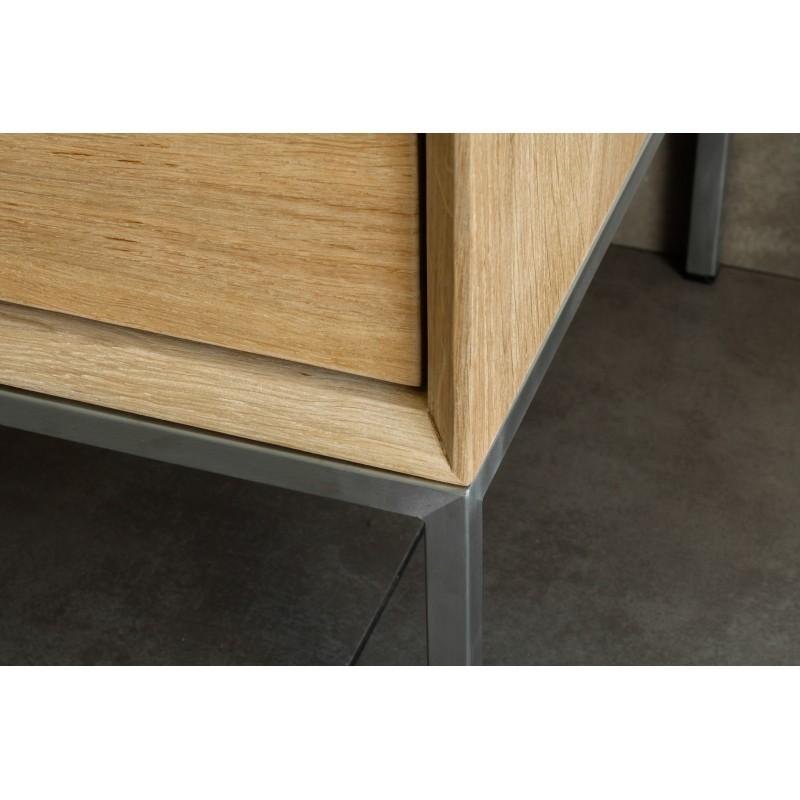 Meuble TV bas design 2 tiroirs 1 porte JASON en chêne massif (chêne naturel) - image 30441