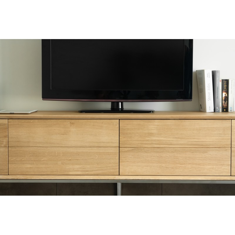 Meuble TV bas design 2 tiroirs 2 portes JASON en chêne massif (chêne naturel) - image 30446