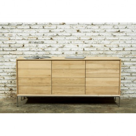 Buffet design low row 2 doors 3 drawers JASON solid oak (natural oak)