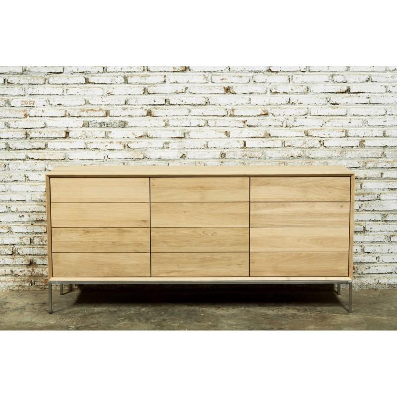 Buffet enfilade bas design 2 portes 3 tiroirs JASON en chêne massif (chêne naturel) - image 30481