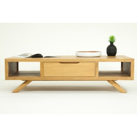 Coffee table retro Scandinavian AARON (natural) massive teak