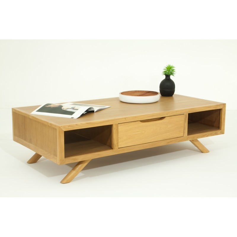 Table basse r tro scandinave aaron en teck massif naturel for Table scandinave en teck
