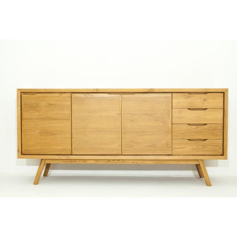 buffet r tro scandinave 3 portes 4 tiroirs aaron en teck massif naturel. Black Bedroom Furniture Sets. Home Design Ideas