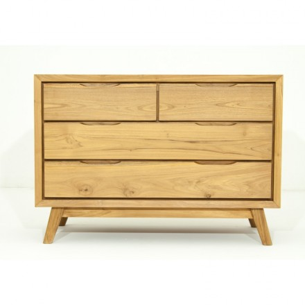 Scandinavian retro Dresser 4 drawer AARON (natural) massive teak