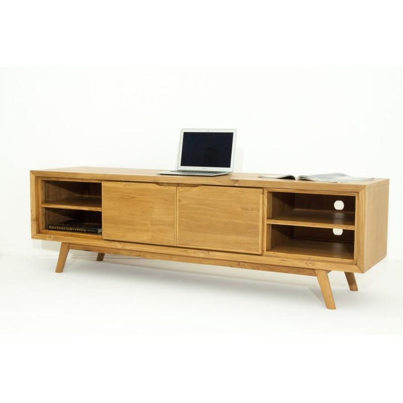 meuble tv r tro scandinave 2 portes 4 niches aaron en teck massif naturel. Black Bedroom Furniture Sets. Home Design Ideas