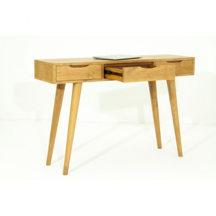Console 3 drawers retro Scandinavian AARON (natural) massive teak