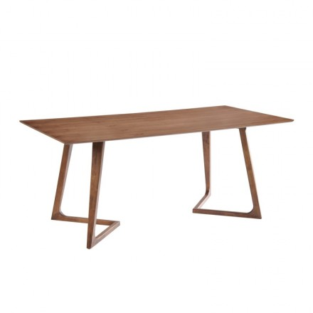 Table à manger design LOANE en bois (200cmX90cmX76cm) (noyer)