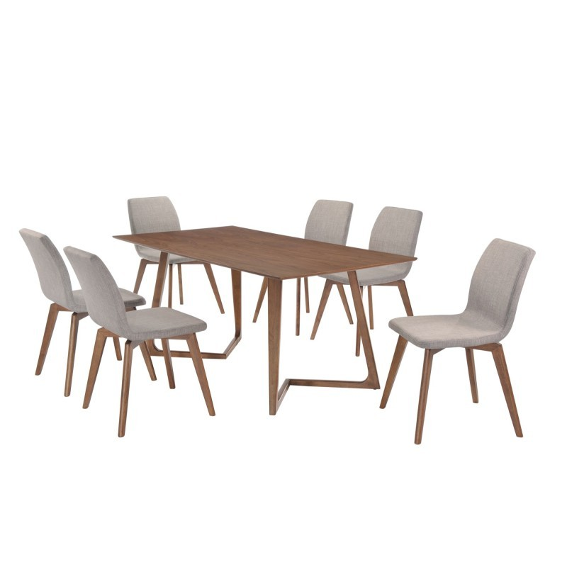 Table à manger design LOANE en bois (180cmX90cmX76cm) (noyer) - image 30548