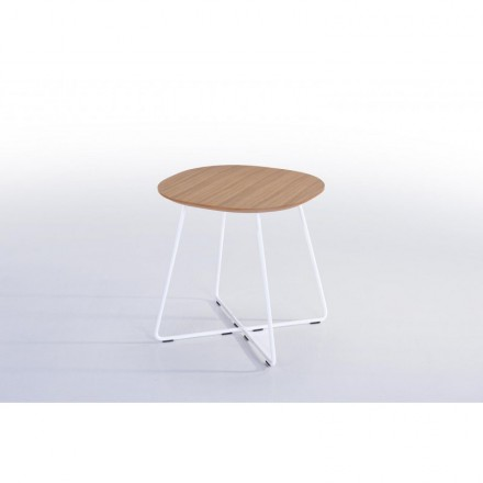 End table, end table design ARGAN in wood and metal (natural oak)