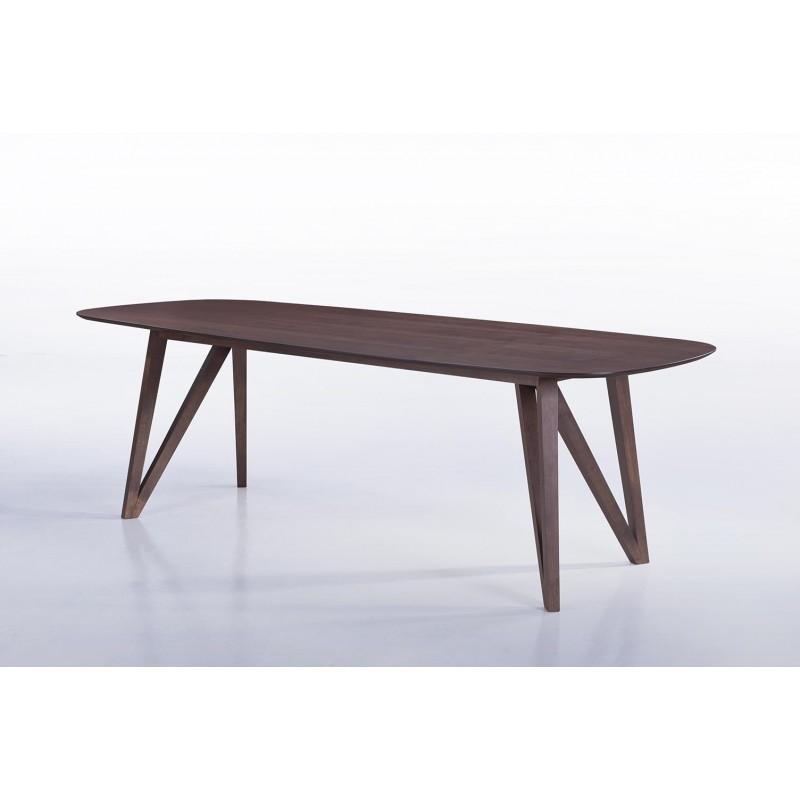 Table à manger contemporaine et vintage MAELYS en bois (240cmX100xcmX75cm) (noyer) - image 30575