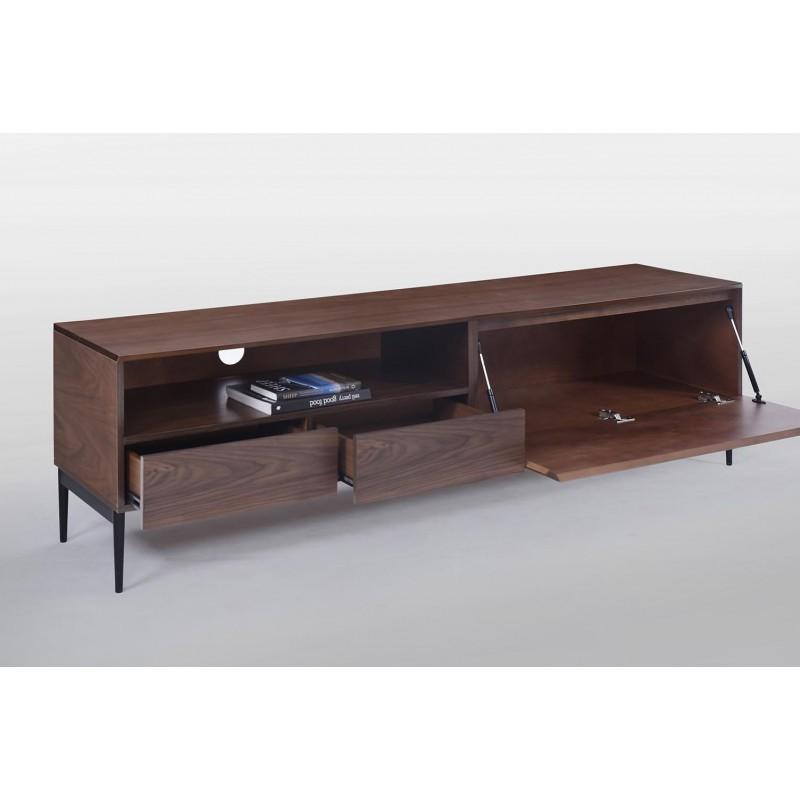 Meuble TV bas 1 niche, 2 tiroirs, 1 porte contemporain et vintage CORREZE en bois (noyer) - image 30584