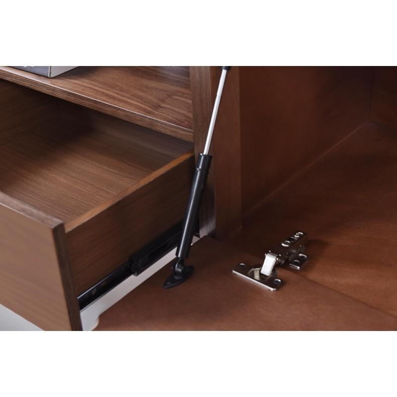 Meuble TV bas 1 niche, 2 tiroirs, 1 porte contemporain et vintage CORREZE en bois (noyer) - image 30585