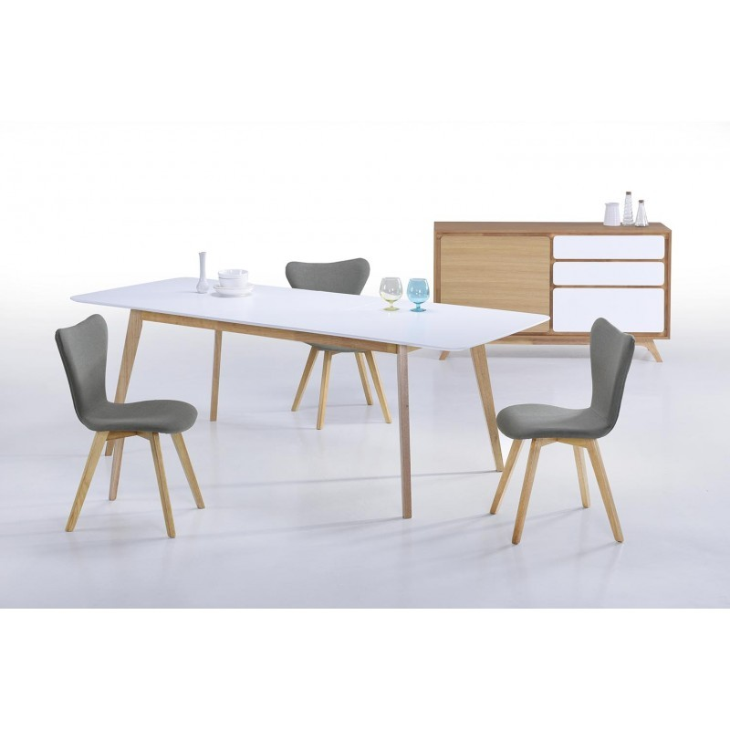 Sala da pranzo scandinavo evy 180 224cmx90cmx76cm tavolo allungabile in legno bianco - Tavolo scandinavo ...