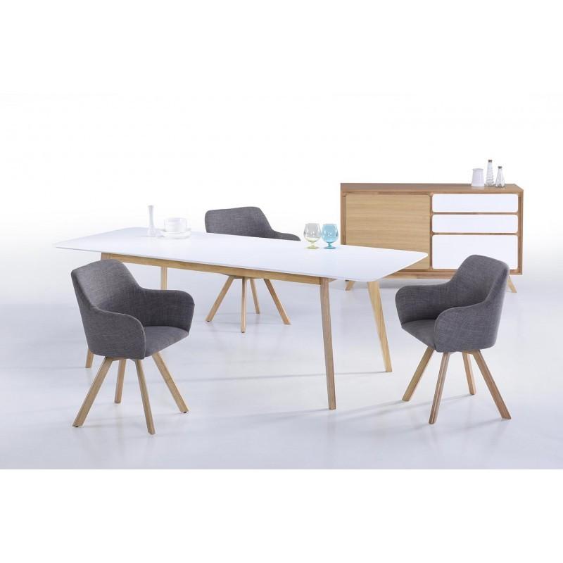 Table à manger extensible scandinave EVY en bois (180/224cmX90cmX76cm) (blanc) - image 30603