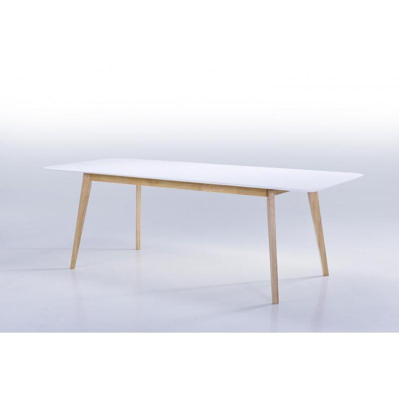 Comedor escandinavo EVY (180/224cmX90cmX76cm ((blanco) Mesa extensible  madera - Mesa de comedor y mesa alta