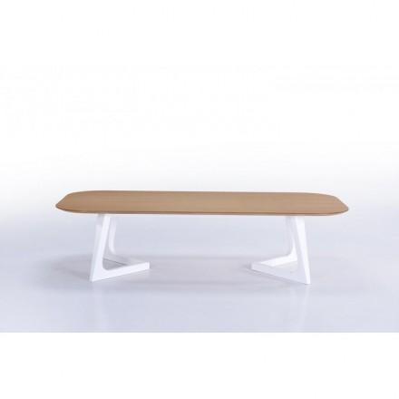 Tavolino design e aletta scandinava in legno (rovere, naturale)