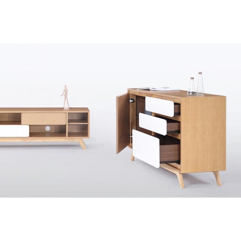 Buffet enfilade 1 porte 3 tiroirs scandinave GAUD en bois (chêne naturel, blanc mat) - image 30632