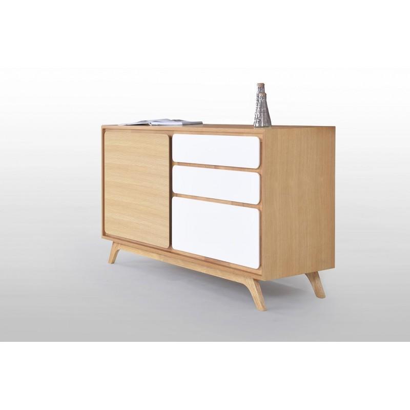 Buffet enfilade 1 porte 3 tiroirs scandinave GAUD en bois (chêne naturel, blanc mat) - image 30634