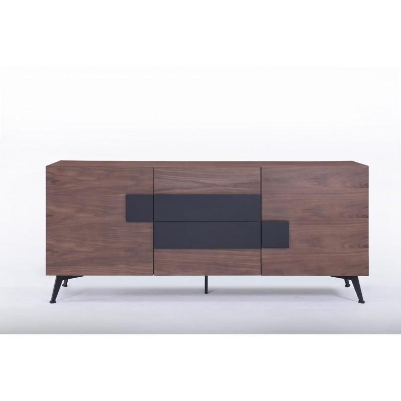 buffet enfilade 2 portes 2 tiroirs vintage magen en bois noyer. Black Bedroom Furniture Sets. Home Design Ideas