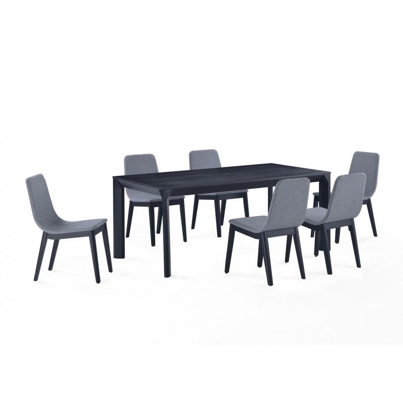 Table à manger design ENZO en bois (180cmX90X75cm) (noir) - image 30649