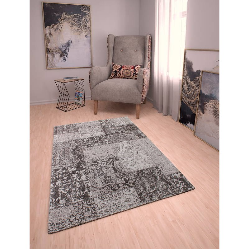 tapis de salon moderne couleurs d lav es 200x290 cm berlin gris fonce noir. Black Bedroom Furniture Sets. Home Design Ideas