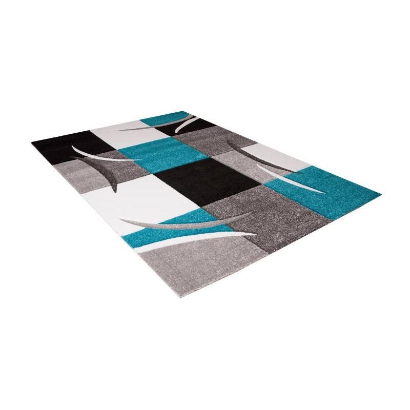 Tapis de salon moderne et fris 200x280 cm modern frise for Tapis turquoise et gris