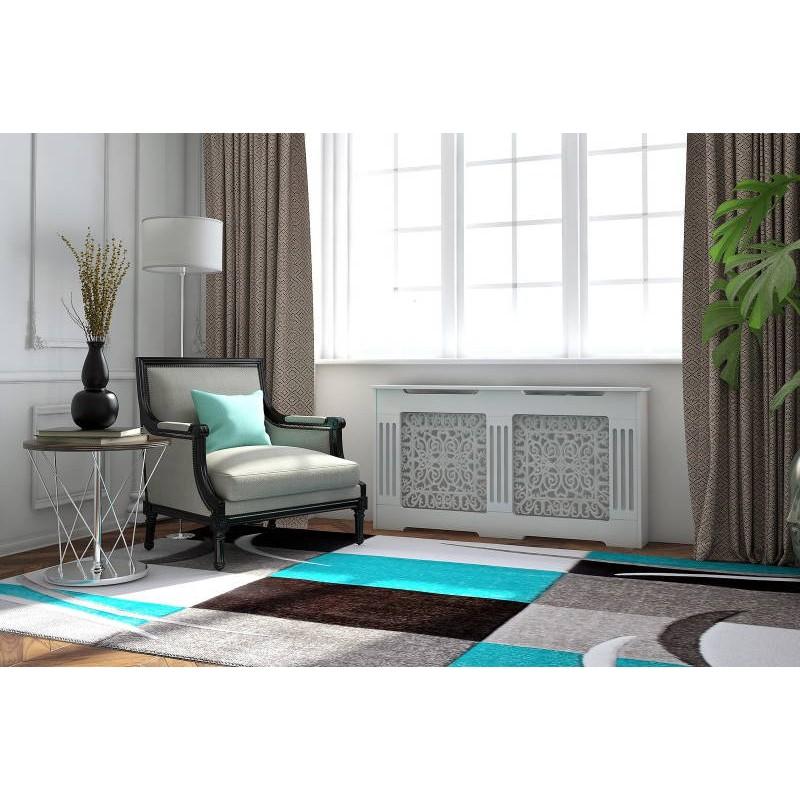 Tapis de salon moderne et fris 240x330 cm modern frise for Tapis gris et turquoise