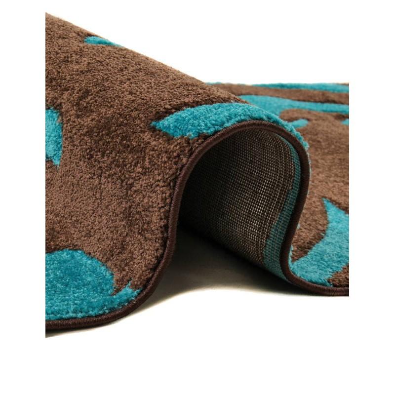 tapis de couloir moderne et fris 80x300 cm modern frise superverso brun turquoise. Black Bedroom Furniture Sets. Home Design Ideas