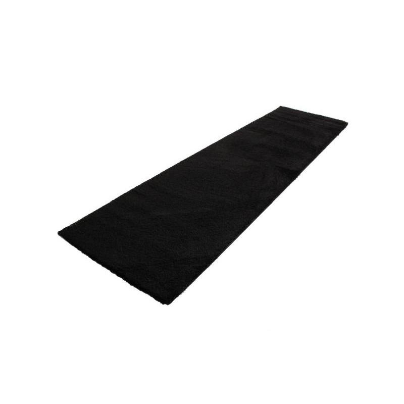 tapis de couloir shaggy de luxe moderne 80x300 cm shaggy luxury tiara noir. Black Bedroom Furniture Sets. Home Design Ideas