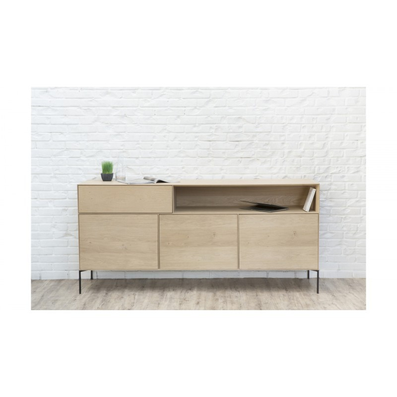 Buffet 3 portes, 1 tiroir, 1 niche design BRIEG en chêne massif 100% (Chêne brut naturel) - image 36034