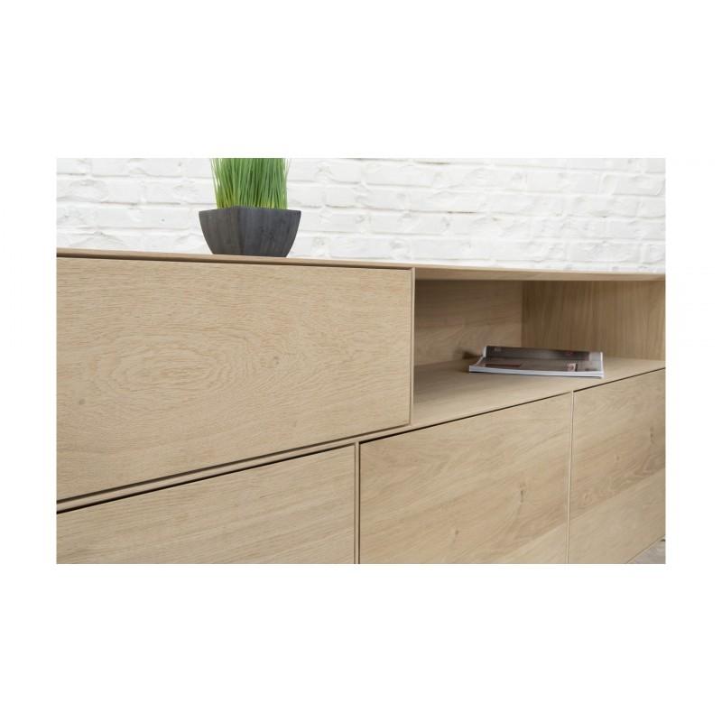 Buffet 3 portes, 1 tiroir, 1 niche design BRIEG en chêne massif 100% (Chêne brut naturel) - image 36037