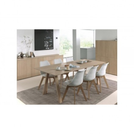 Dining table extendable design (180/232x90x76cm) BRIEG in 100% solid oak (natural raw oak)