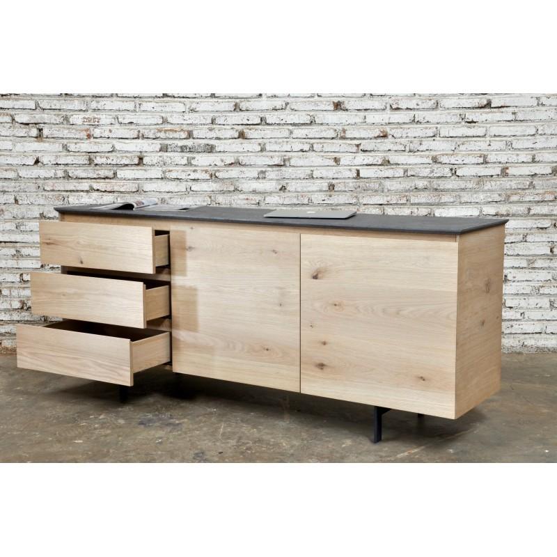 Buffet enfilade bas design 2 portes 3 tiroirs ADRIA en chêne massif (chêne naturel) - image 36055