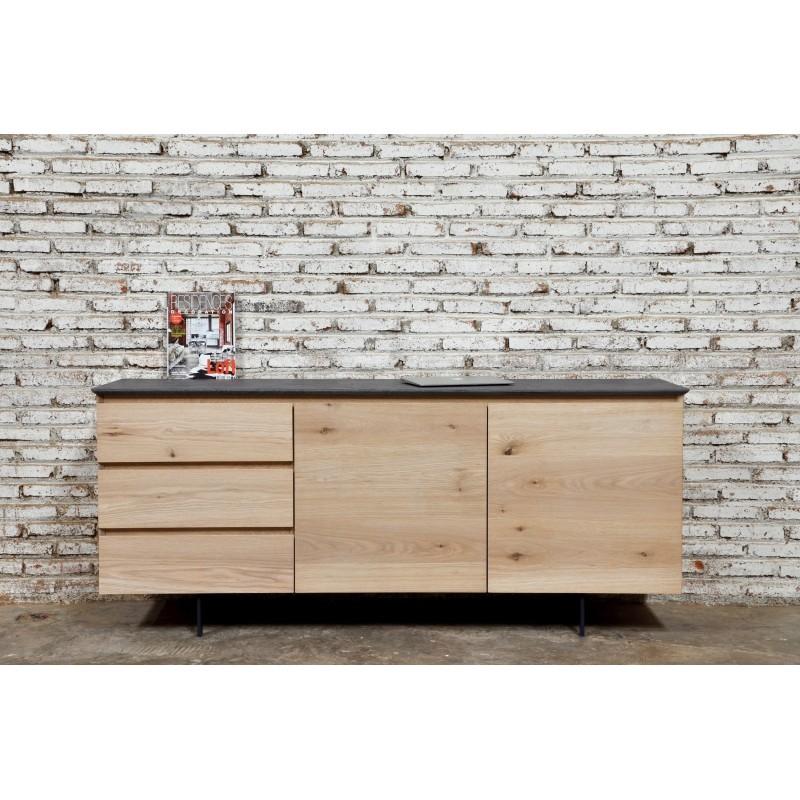 Buffet enfilade bas design 2 portes 3 tiroirs ADRIA en chêne massif (chêne naturel) - image 36057