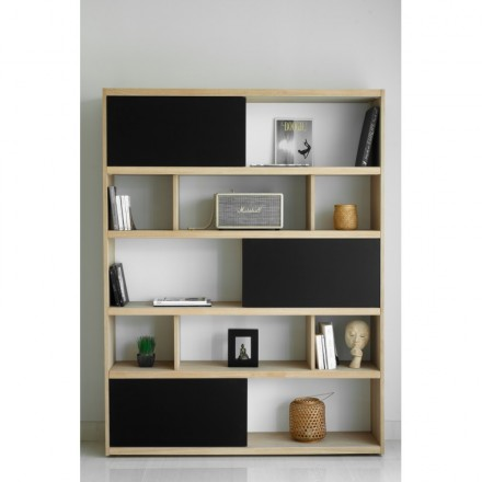 Shelf design EVA bookcase solid oak (oak natural, black)