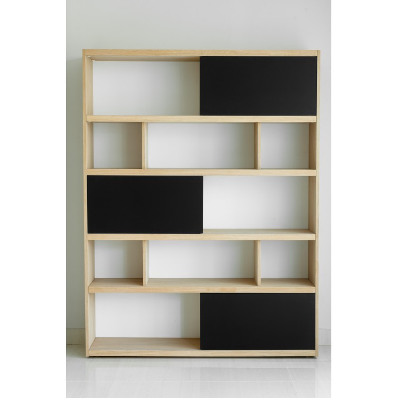 etag re biblioth que design eva en ch ne massif ch ne. Black Bedroom Furniture Sets. Home Design Ideas