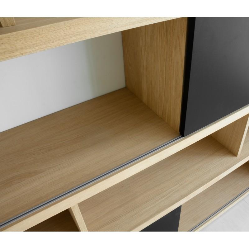 Mensola design EVA libreria in rovere massello (rovere naturale, nero)