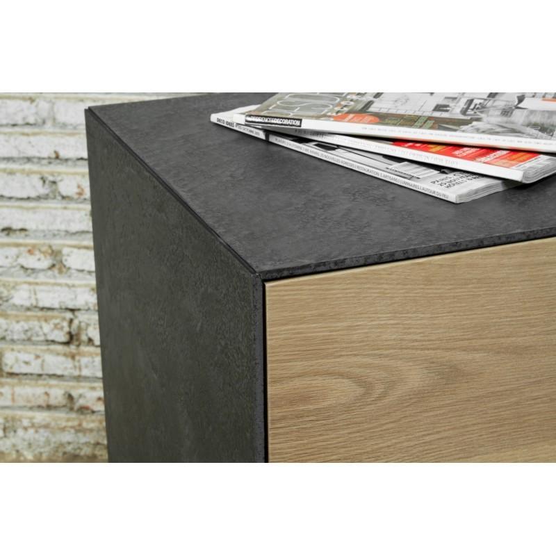 Buffet enfilade 3 portes contemporain BOUBA en chêne massif et revêtement minéral (chêne, noir) - image 36088