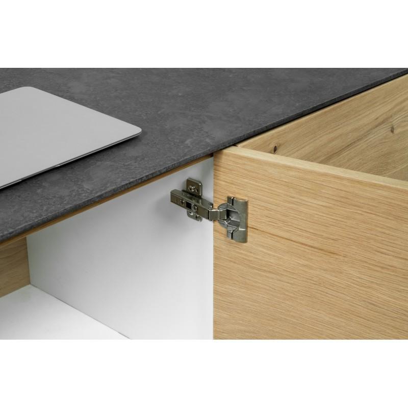 Buffet enfilade 3 portes contemporain BOUBA en chêne massif et revêtement minéral (chêne, noir) - image 36089