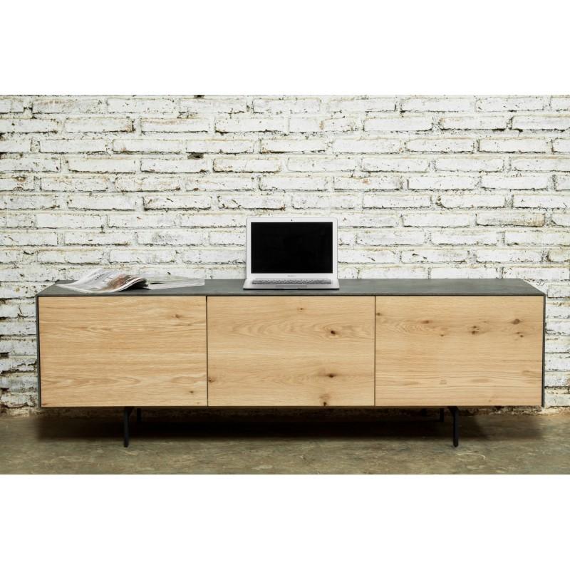 Meuble TV bas contemporain 2 portes 1 tiroir BOUBA en chêne massif et revêtement minéral (chêne naturel, noir) - image 36095
