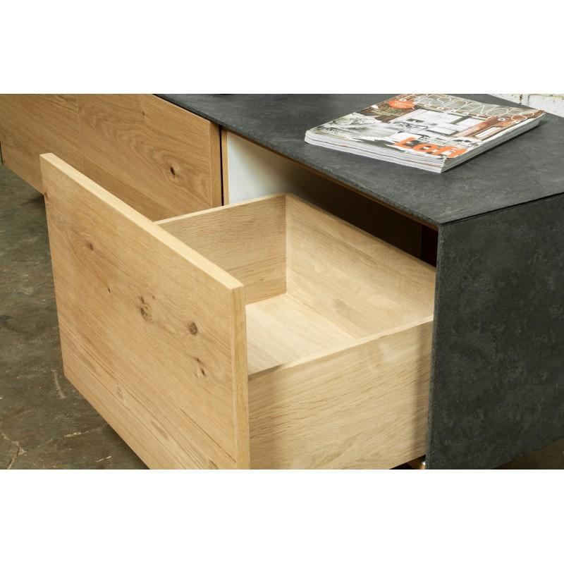 Meuble TV bas contemporain 2 portes 1 tiroir BOUBA en chêne massif et revêtement minéral (chêne naturel, noir) - image 36100