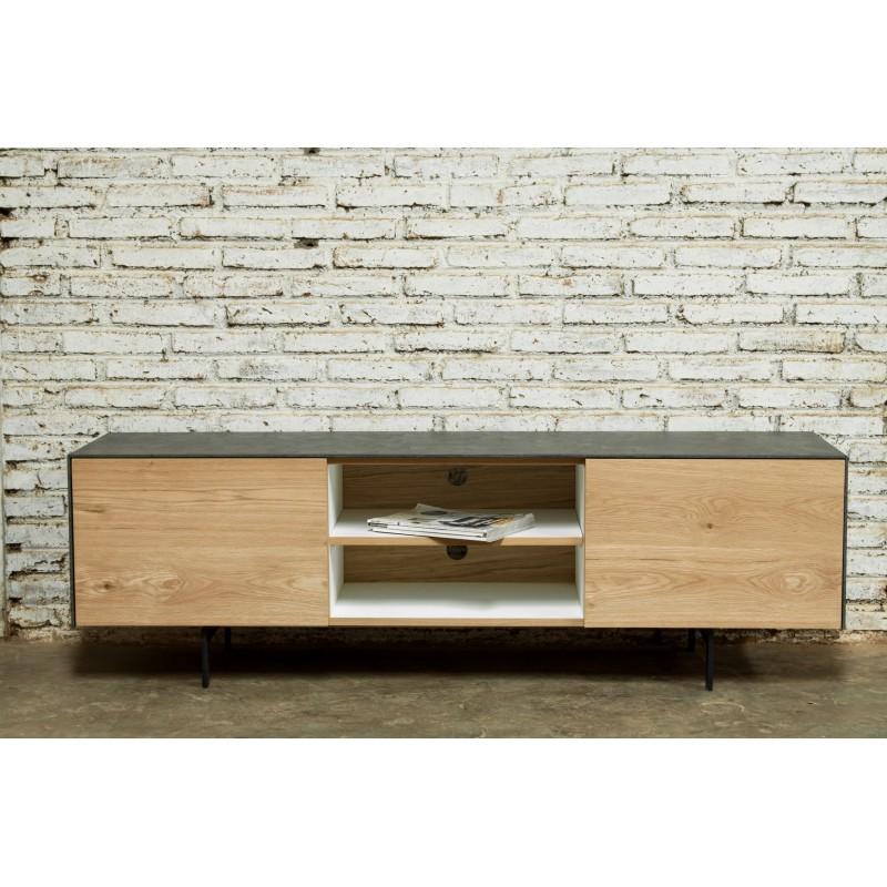 Meuble TV bas contemporain 1 porte 1 tiroir 2 niches BOUBA en chêne massif et revêtement minéral (chêne naturel, noir)