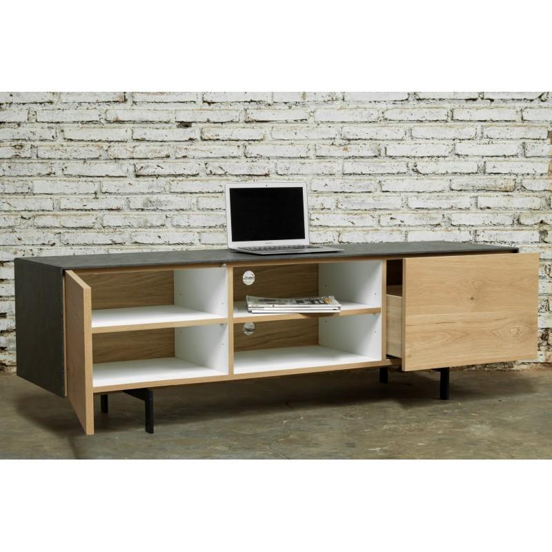 Meuble tv bas contemporain 1 porte 1 tiroir 2 niches bouba for Meuble contemporain chene massif