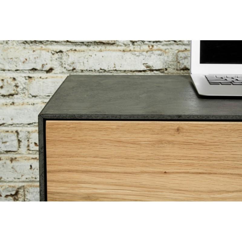 Meuble TV bas contemporain 1 porte 1 tiroir 2 niches BOUBA en chêne massif et revêtement minéral (chêne naturel, noir) - image 36106