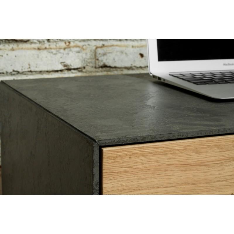 Meuble TV bas contemporain 1 porte 1 tiroir 2 niches BOUBA en chêne massif et revêtement minéral (chêne naturel, noir) - image 36107
