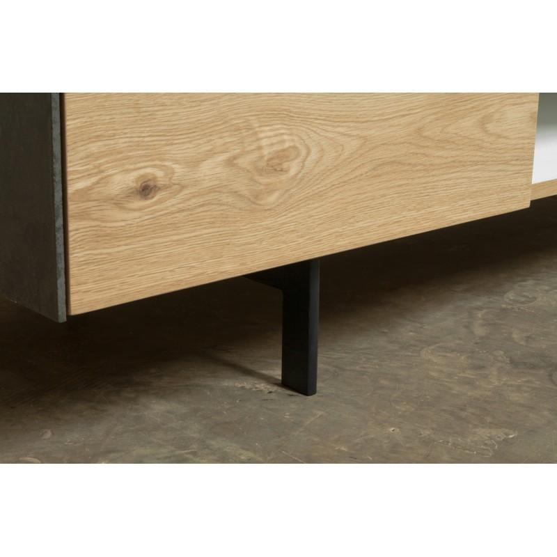 Meuble TV bas contemporain 1 porte 1 tiroir 2 niches BOUBA en chêne massif et revêtement minéral (chêne naturel, noir) - image 36109