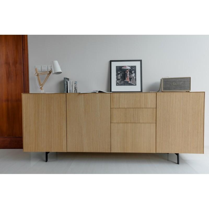 Buffet enfilade 3 portes 3 tiroirs contemporain FIFI en chêne massif (chêne naturel) - image 36113