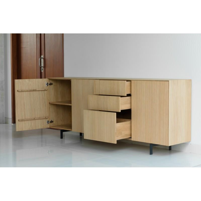 Buffet enfilade 3 portes 3 tiroirs contemporain FIFI en chêne massif (chêne naturel) - image 36115
